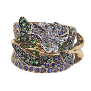 18k Gold Tsavorite Diamond Sapphire Ring
