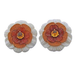 18k Gold Resin Wood Citrine Large Flower Earrings