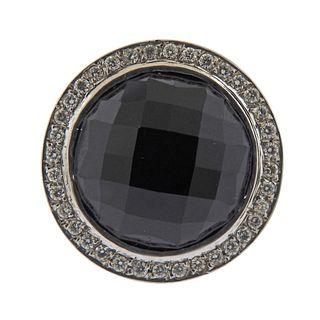 14k Gold Onyx Diamond Cocktail Ring
