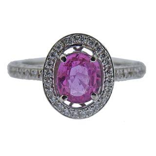 18k Gold Pink Sapphire Diamond Ring