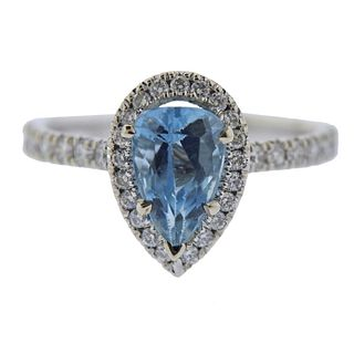 14k Gold 1.60ct Aquamarine Diamond Ring