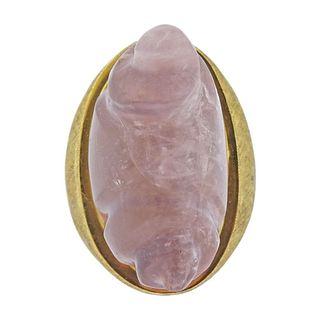 18k Gold Carved Rose Quartz Ring
