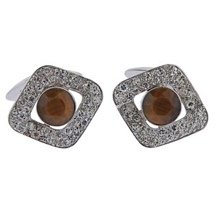 18k Gold Diamond Tiger's Eye Cufflinks