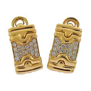 18k Gold DIamond Half Hoop Earrings
