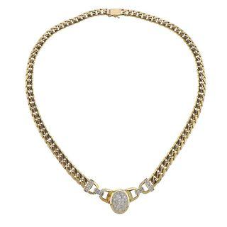 14k Gold 2.50ctw Diamond Curb Link Pendant Necklace