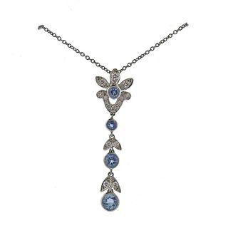 Tiffany & Co Garland Platinum Aquamarine Diamond Pendant Necklace