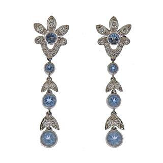 Tiffany & Co Garland Platinum Aquamarine Diamond Earrings