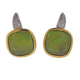 Pomellato Sherazade 18k Gold Diamond Peridot Earrings