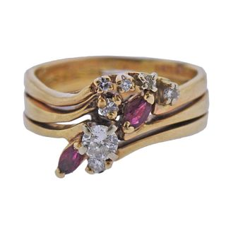 14k Gold Diamond Ruby Ring