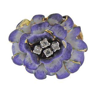 18k Gold Enamel Diamond Flower Ring
