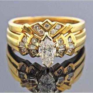 14k Gold Marquise Diamond Bridal Ring Set