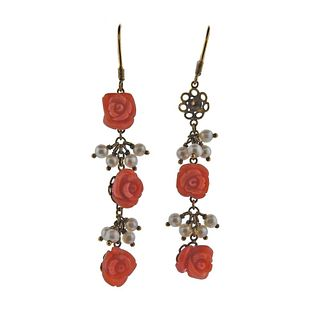 18k Gold Carved Coral Pearl Drop Earrings