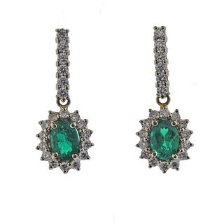 14k Gold Emerald Diamond Drop Earrings