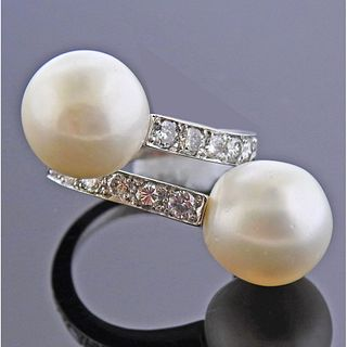 18k Gold South Sea Pearl Diamond Bypass RIng