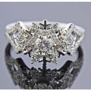 14k Gold Diamond Snowflake Ring