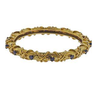 18k Gold Sapphire Bangle Bracelet