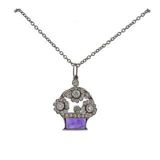 Tiffany & Co Platinum Diamond Amethyst Flower Basket Necklace