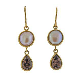 Mallary Marks 22k Gold Pearl Gemstone Drop Earrings