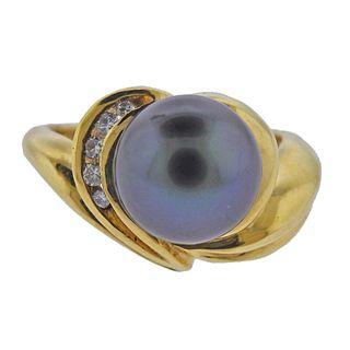 18k Gold Tahitian Pearl Diamond Ring
