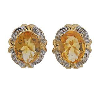 14k Gold Citrine Earrings