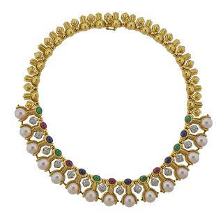 18k Gold Diamond Pearl Emerald Ruby Sapphire Necklace