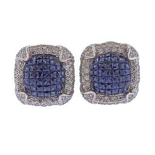 14k Gold Invisible Set Sapphire Diamond Earrings