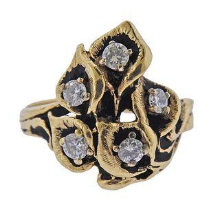 14k Gold Diamond Free Form Ring