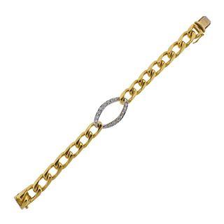 18k Gold Diamond Curb Link Bracelet