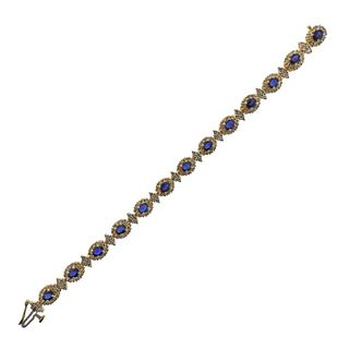 14k Gold Diamond Sapphire Bracelet