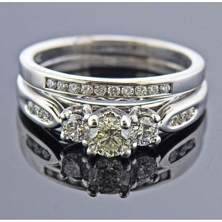 14k 18k Gold Diamond Bridal Ring Set
