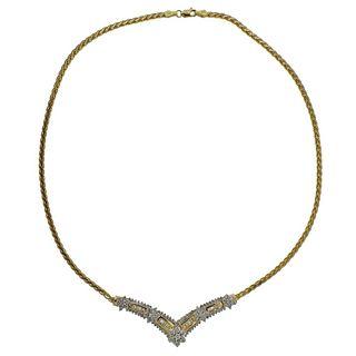 14k Gold Diamond V Necklace