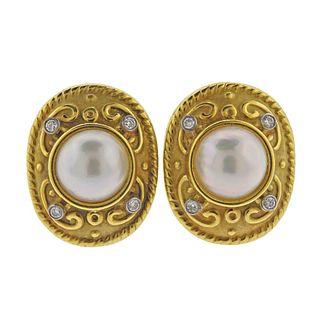 18k Gold Pearl Diamond Large Earrings