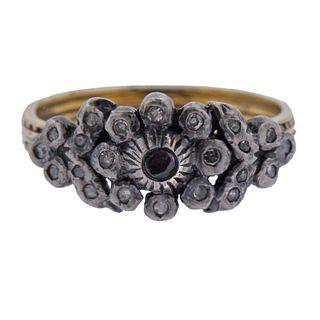 Antique 14k Gold Silver Rose Cut Diamond Ruby Ring