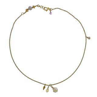 14k Gold Opal Gemstone Necklace