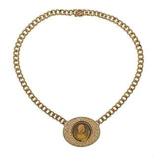 14k Gold Diamond Queen Elizabeth II Canada 1976 Coin Necklace