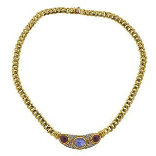 1980s 14k Gold Sapphire Ruby Cabochon Diamond Necklace