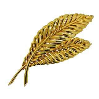 Large 14k Gold Feather Brooch Pin
