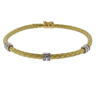 Italian 18k Gold Diamond Braided Bracelet