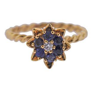 14k Gold Sapphire Diamond Tulip Flower Ring