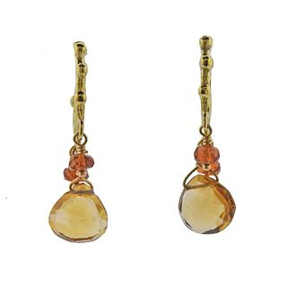 18k Gold Citrine Dangle Earrings