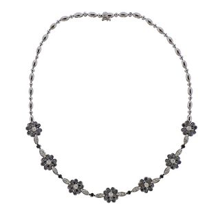 18k Gold Black White Diamond Flower Necklace