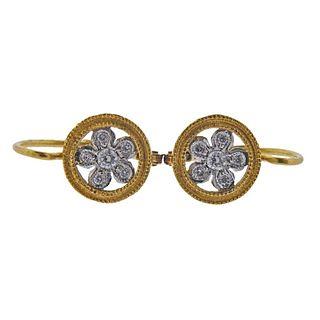 Cathy Waterman 22k Gold Platinum Flower Diamond Earrings
