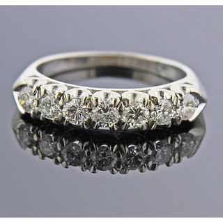 Mid Century Platinum Diamond Half Band Ring