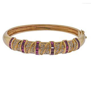 18k Gold Diamond Ruby Bangle Bracelet