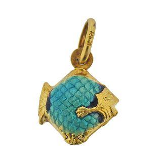 18k Gold Enamel Fish Pendant