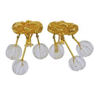 18k Gold Carved Crystal Earrings