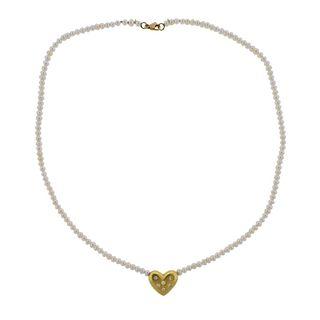 18k Gold Pearl Diamond Heart Pendant Necklace