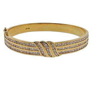 18k Gold 4.00ctw Diamond Bangle Bracelet