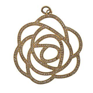 14k Rose Gold Diamond Flower Pendant