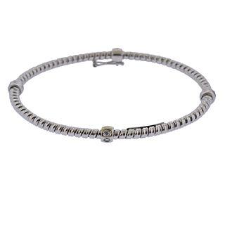 Italian 18k Gold Diamond Bangle Bracelet